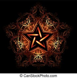 mystical fiery star - Wiccan fiery star, decorated with red...