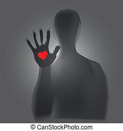 Mystical figure - Heart in hand, a mystical figure. Vector ...