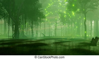 Mystical firefly lights in swampy night forest 4K -...