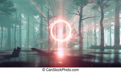 Mystical foggy forest with portal to another world -...