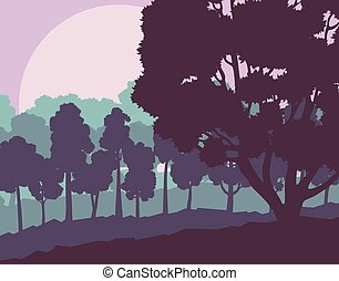 Mystical forest landscape sunset vector background vintage and retro style