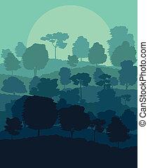 Mystical forest vector background landscape concept