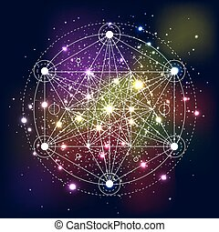 Mystical geometry symbol on space background. Linear alchemy...