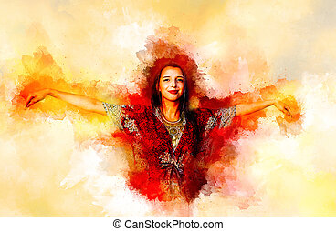 mystical girl celebrating with joy of life in oriental dress and softly blurred watercolor background.