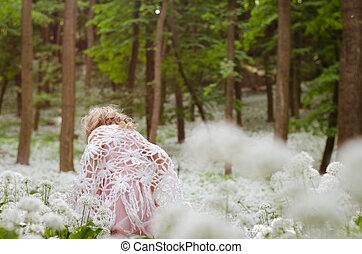 mystical girl in woods