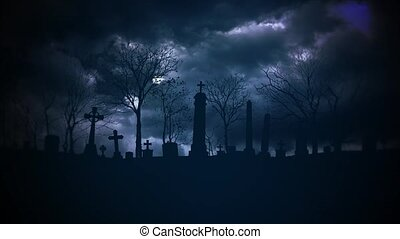 Mystical halloween background with dark clouds and grave on ...