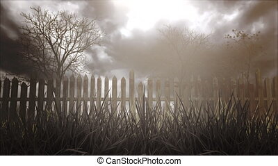 Mystical halloween background with dark forest and fog. Holiday Halloween, abstract backdrop. Luxury and elegant dynamic animation footage of halloween theme