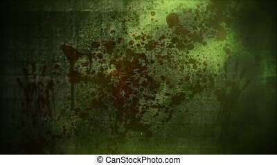 Mystical horror background with dark blood on green wall and...