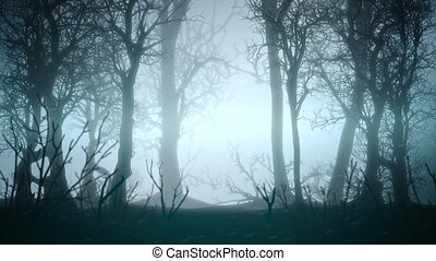 Mystical horror background with dark blue forest and fog abstract backdrop. Luxury and elegant dynamic animation footage of horror and halloween theme