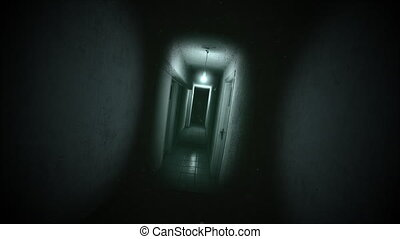Mystical horror background with dark hall of room
