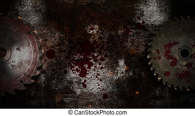 Mystical horror background with electric saw and dark blood