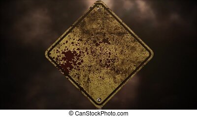 Mystical horror background with road sign and dark blood, abstract backdrop. Luxury and elegant dynamic animation footage of halloween and horror theme
