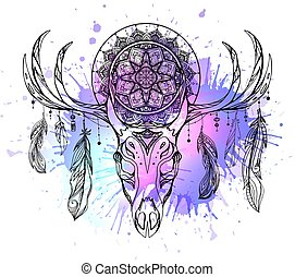 Mystical illustration of deer skull with feathers, mandala and neon watercolor stains. The object is separate from background. Vector boho image
