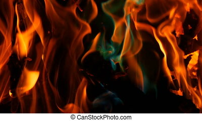 Mystical magic rainbow fire changes color to multicolor...