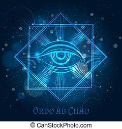 Mystical mason sign with eye
