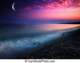 mystical, naturlig, abstrakt, baggrunde, sea.