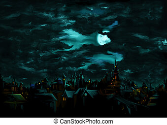 Mystical night over the medieval gothic town