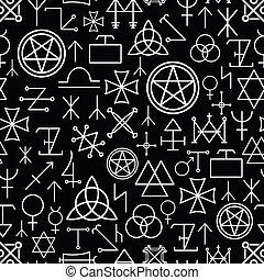 Mystical seamless pattern on black background. White line,...