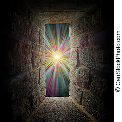 Mystical stone window or portal to a pastel vortex -...