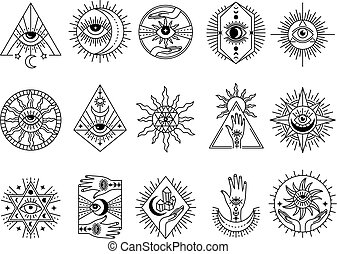 Mystical symbols. Occult emblems meditation magic esoterism and alchemy icons mystery stones tarot cards and moons recent vector stylized pictures set