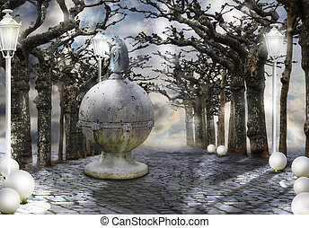 Mysticism. Mystic Alley with Magic Trees in Haze