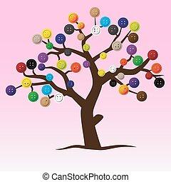 mystický, knoflík, strom