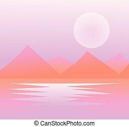 mystiek, bergen, en, vallei, in, mist, morgen, nevel, plat, stijl