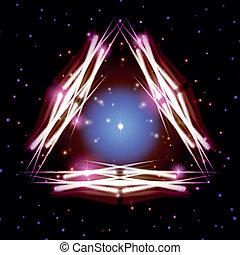 mystiek, driehoek, glanzend, vonkeelt