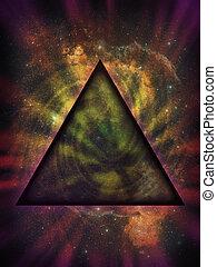 mystiek, driehoek, ruimte, tegen, diep, achtergrond