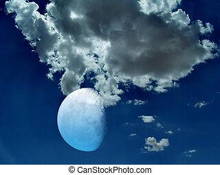mystiek, foto, hemel, maan, nacht, liggen