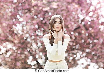 mystiek, garden., mode, beauty, lente, magisch, fantasie, model., verticaal, meisje
