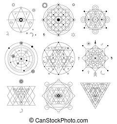 mystiek, lineair, meetkunde, abstract, filosofisch, occult, alchimie, symbool, signs., set.