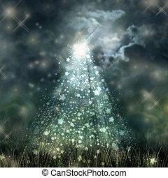 mystiek, maanlicht, hemel, donker, vloeiend, grond