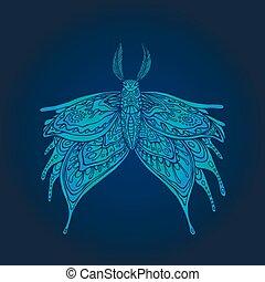 mystiek, page., vlinder kleuren, blauwe , fantasie