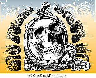 mystiek, portaal, schedel, illustratie