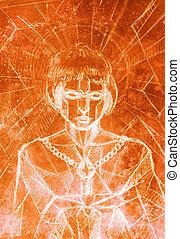 mystiek, vrouw, en, sword., potlood tekenen, op, oud, paper., mozaïek, structuur, kleur, effect, and.