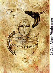 mystiek, vrouw, hoofden, haar., twee, jonge, historisch, boven, draak, jurkje, tekening