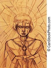 mystiker, frau, und, sword., bleistift zeichnen, auf, altes , paper., mosaik, struktur, farbe, effekt, and.