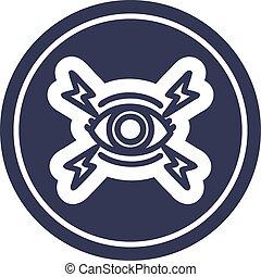 mystique, circulaire, oeil, icône