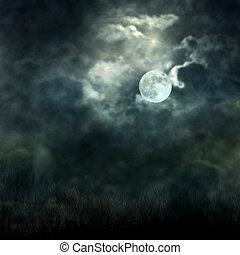 mystique, clair lune, ciel, sombre, écoulement, terrestre