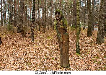 mystique, clairière, -, russie, caractères, novembre, moscou, fée, 3, 2018:, bois, conte, découpé, forêt, région
