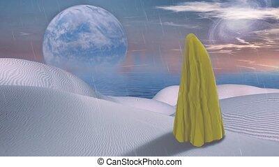 mystique, couvert, tissu, surréaliste, figure, jaune, desert.