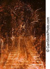 mystique, debout, femme, ange, escalier, couleur, top.,...
