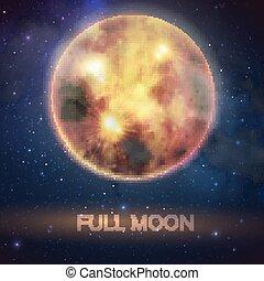 mystique, entiers, halloween, ciel, illustration, sanglant, décoration, arrière-plan., vecteur, conception, nuit, lune