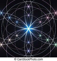 mystique, géométrie, ornament., géométrique, arrière-plan., incandescent, sacré