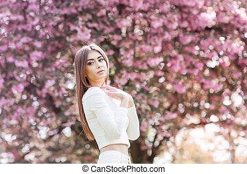 mystique, garden., mode, beauté, printemps, magique, fantasme, model., portrait, girl