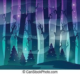mystisk, 1, tema, skog, avbild