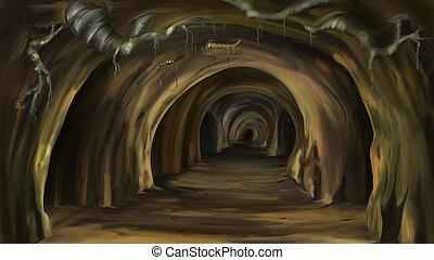 mystisk, grotta