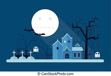 mystisk, halloween, landskap