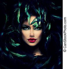 mystisk, kvinna, portrait., vacker, modell, kvinna uppsyn,...